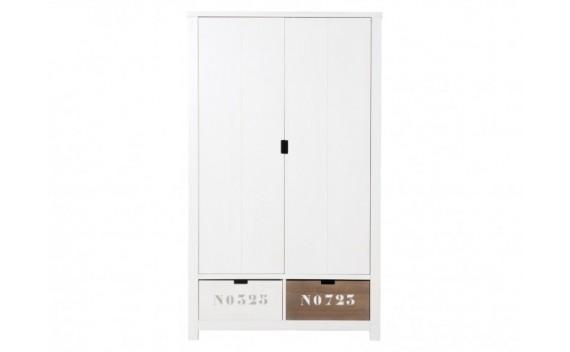 Armario de 2 Puertas Xl Basic Wood White Wash (Incluyendo 2 Cajones)