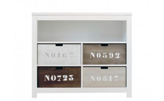 Armario Doble 5 Compartimientos Abiertos Basic Wood Blanco