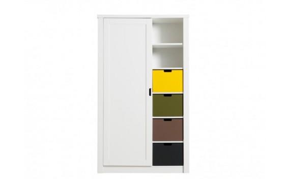 Armario de 1-Puerta Mix & Match Luxe con Compartimientos Abiertos Blanco