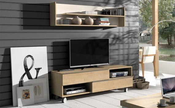 Mesa Fenix Plus TV Roble y Glaciar