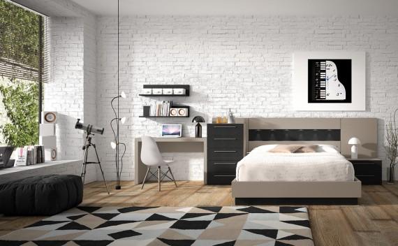 Dormitorio Olimpo Aura Negro Piel y Visón