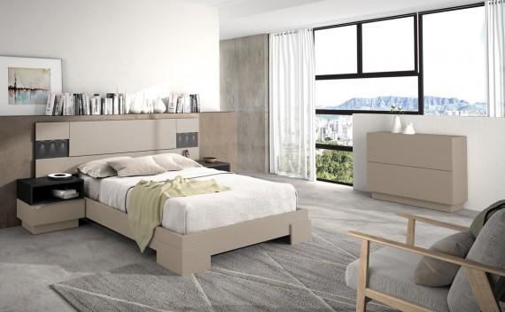 Dormitorio Olimpo Crono Negro Piel y Visón