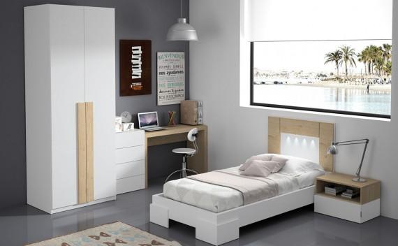 Dormitorio Olimpo Perseo Blanco y Roble