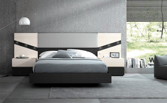 Dormitorio Olimpo Ares Negro Piel, Glaciar y Tapizado Plata