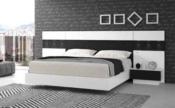 Dormitorio Olimpo Atenea Negro Piel y Blanco