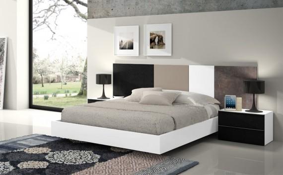 Dormitorio Olimpo Helios Blanco, Negro Piel, Visón y Piedra