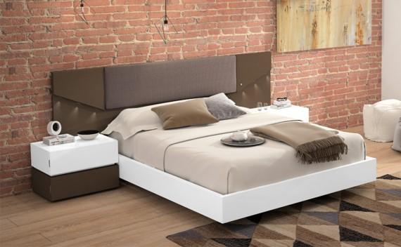 Dormitorio Olimpo Momo Tabaco, Blanco y Tapizado Gris