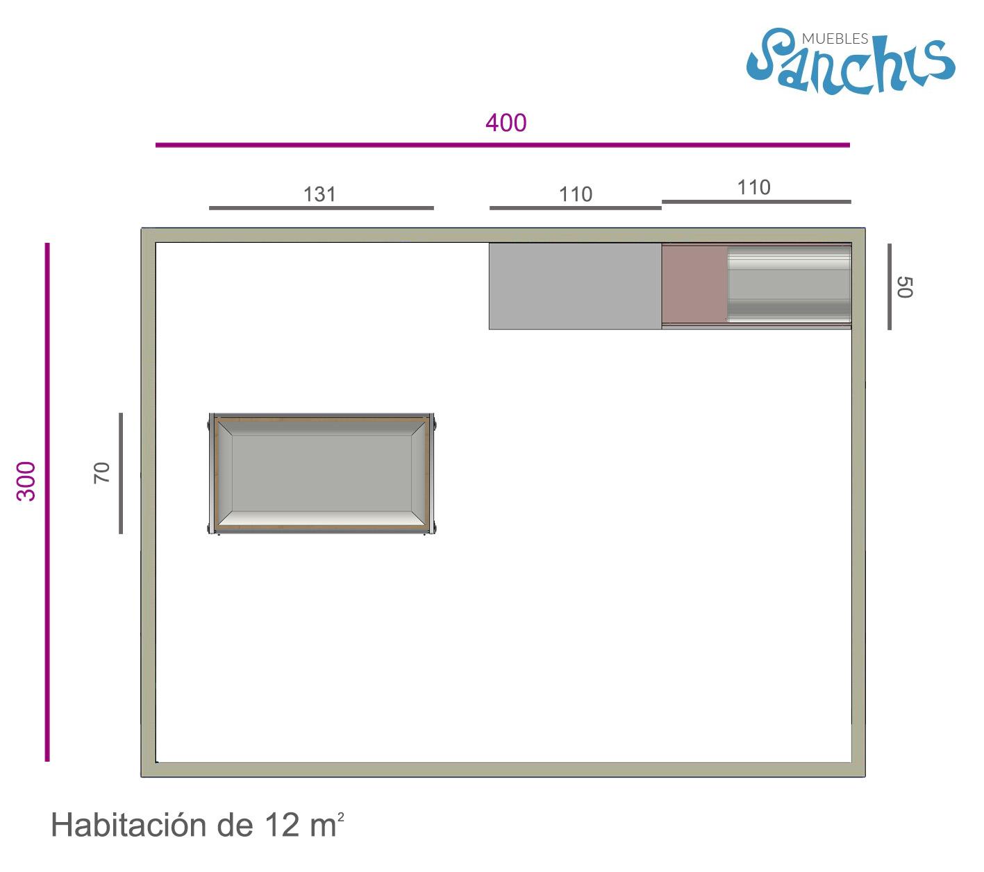 Layout Dormitorio Infantil con Armario