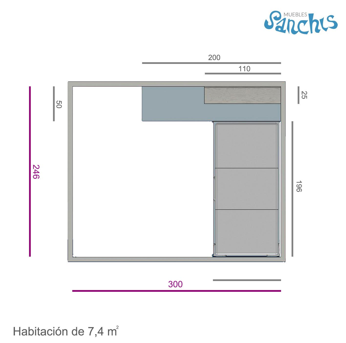 Layout Dormitorio Juvenil con Encimera Deslizable